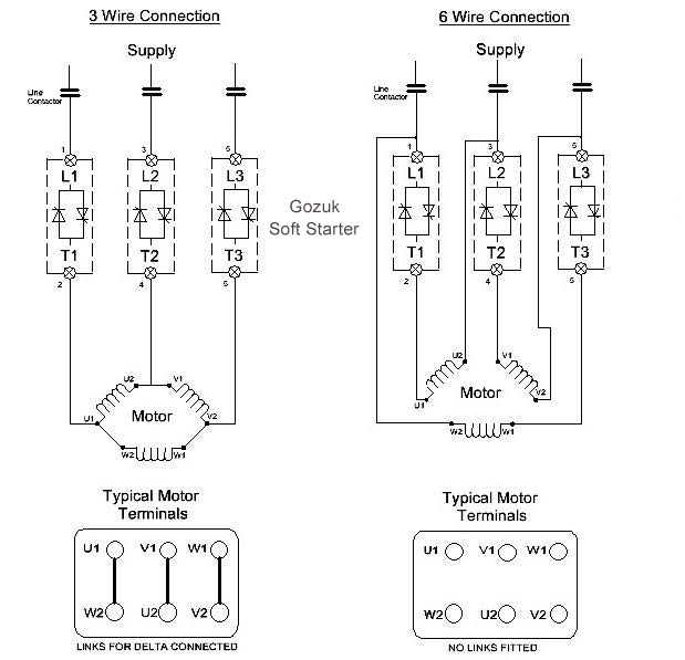 6 wire motor wiring diagram soft starter in 6 wire connection soft starter in 3 wire 6 wire connection 3 phase motor wiring diagram